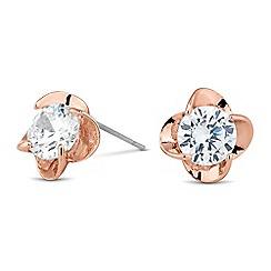 Jon Richard - Crystal encased floral rose gold stud earring