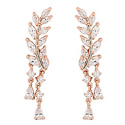 Jon Richard - Cubic zirconia rose gold leaf ear climber