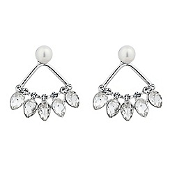 Jon Richard - Pearl and crystal fan drop earring