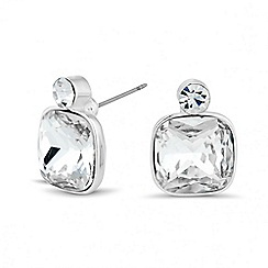 Jon Richard - Crystal square and round top stud earring