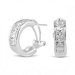 Jon Richard - Cubic zirconia encased silver hoop earring