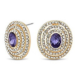 Jon Richard - Purple oval stone crystal surround earring