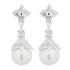 Jon Richard - Pearl capped cubic zirconia drop earring