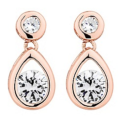 Jon Richard - Rose gold cubic zirconia teardrop earring