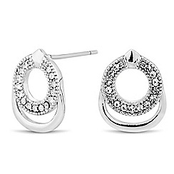 Jon Richard - Polished and crystal double circle stud earring