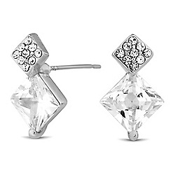 Jon Richard - Double square crystal silver stud earring