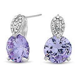 Jon Richard - Round purple cubic zirconia drop earring