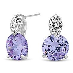 Jon Richard - Round purple cubic zirconia drop earring