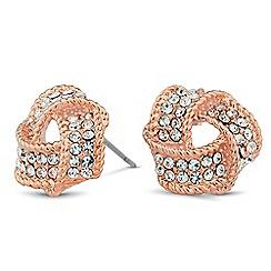 Jon Richard - Rose gold crystal knot stud earring