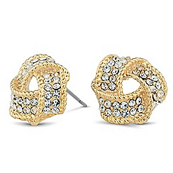 Jon Richard - Gold crystal knot stud earring