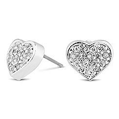 Jon Richard - Mini crystal silver heart stud earring MADE WITH SWAROVSKI CRYSTALS