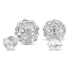 Jon Richard - Crystal embellished ball front and back earring