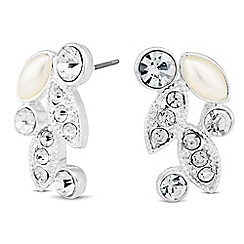 Jon Richard - Pearl and crystal encased leaf stud earring