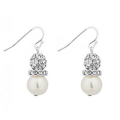 Jon Richard - Crystal ball and pearl disc drop earring