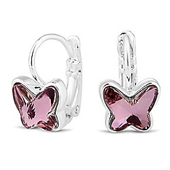 Jon Richard - Pink crystal butterfly earring MADE WITH SWAROVSKI CRYSTALS