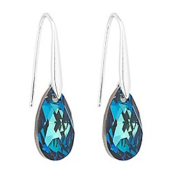 Jon Richard - Large blue crystal peardrop earring MADE WITH SWAROVSKI CRYSTALS