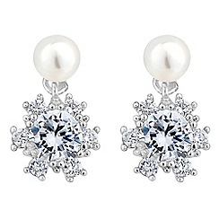 Jon Richard - Pearl and cubic zirconia floral drop earring