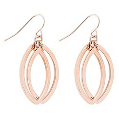 Jon Richard - Rose gold double navette drop earring
