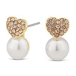 Jon Richard - Crystal heart and pearl stud earring