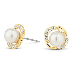 Jon Richard - Pearl and cubic zirconia round stud earring