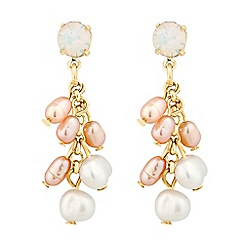 Alan Hannah Devoted - Designer dahlia freshwater pearl and opal crystal earrings