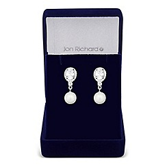 Jon Richard - Lily cubic zirconia and pearl drop earrings