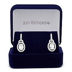 Jon Richard - Cubic zirconia oval surround drop earring