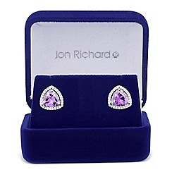 Jon Richard - Purple cubic zirconia triangular stud earring