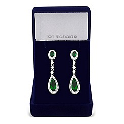 Jon Richard - Clara green cubic zirconia teardrop earring