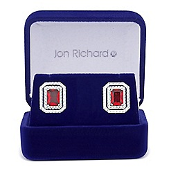 Jon Richard - Red cubic zirconia square surround stud earring