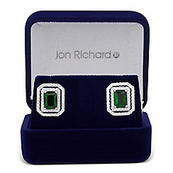 Jon Richard - Green square cubic zirconia surround stud earring