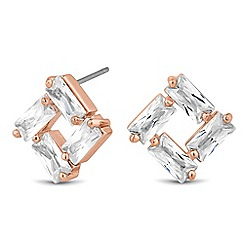 Jon Richard - Baguette cubic zirconia encased square stud earring
