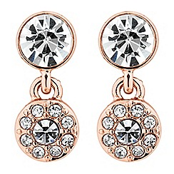 Jon Richard - Rose gold crystal double drop earring