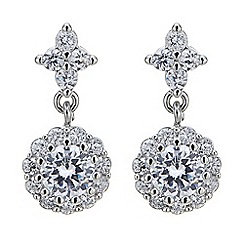 Jon Richard - Cubic zirconia crystal cluster drop earring