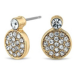 Jon Richard - Round crystal embellished gold stud earring