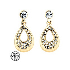 Jon Richard - Embellished gold teardrop earring MADE WITH SWAROVSKI CRYSTALS
