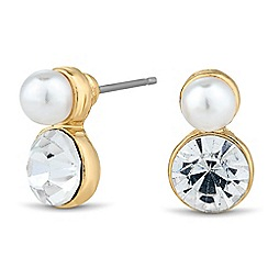 Jon Richard - Pearl and round crystal stud earring