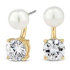 Jon Richard - Pearl and round cubic zirconia drop earring