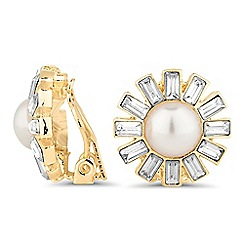 Jon Richard - Pearl sunflower clip on earring