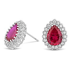 Jon Richard - Red cubic zirconia peardrop stud earring