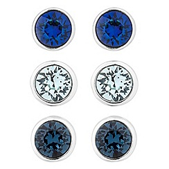 Jon Richard - Set of three round blue stud earrings MADE WITH SWAROVSKI CRYSTALS