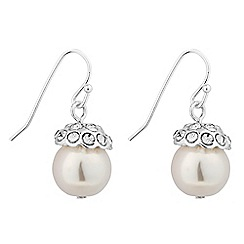 Jon Richard - Crystal top cream pearl drop earring