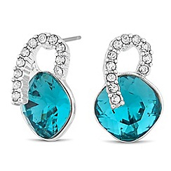 Jon Richard - Crystal curve blue square stud earring