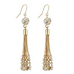 Jon Richard - Long embellished ball and crystal drop earring