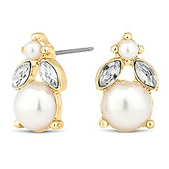 Jon Richard - Round jet disc and pearl drop earring