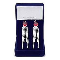 Jon Richard - Red cubic zirconia peardrop and diamante tassel earring