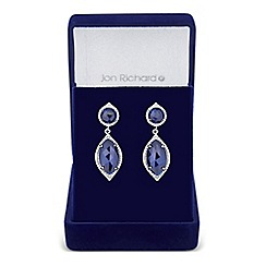 Jon Richard - Blue cubic zirconia navette surround drop earring