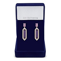 Jon Richard - Purple cubic zirconia baguette surround drop earring
