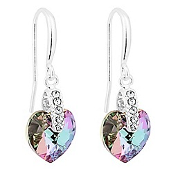 Jon Richard - Pink heart drop earring MADE WITH SWAROVSKI CRYSTALS