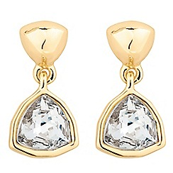 Jon Richard - Hexagon gold stone drop earring MADE WITH SWAROVSKI CRYSTALS